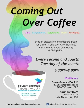 Coming Out Over Coffee - Discussion Group Poster