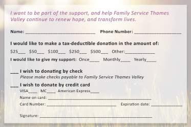 Donation Card Design (reverse)