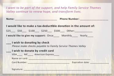 Donation Card Design (reverse)
