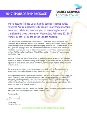 Jazzing Things Up - Sponsorship Package Letter